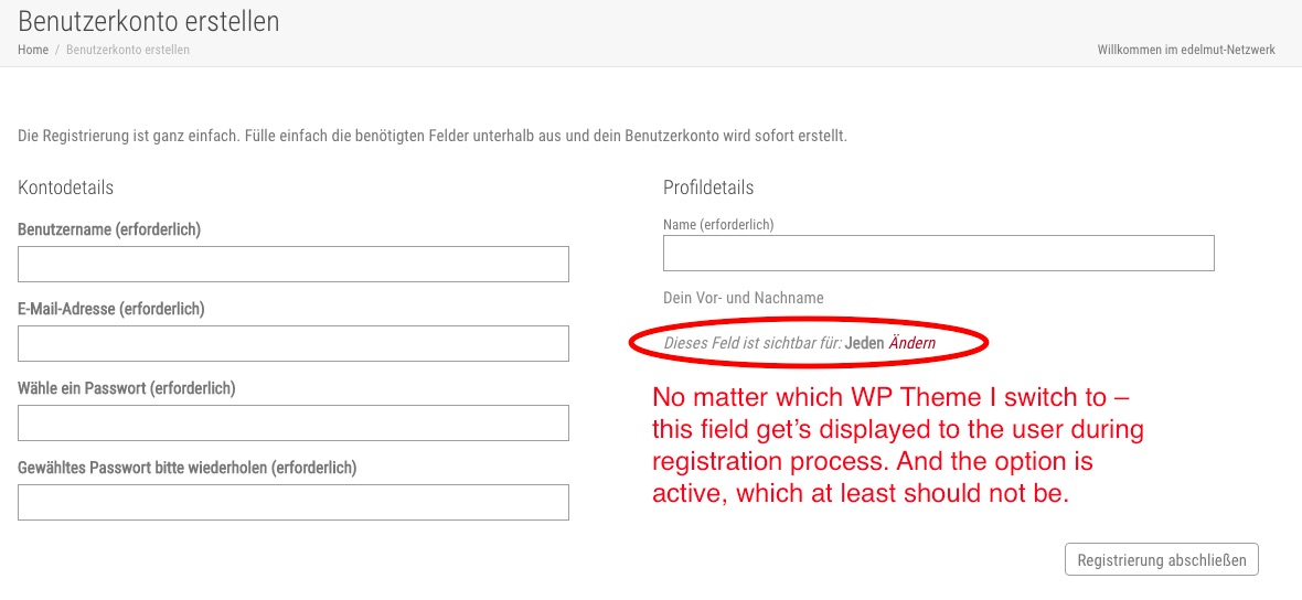 Hide visibility option on registration page?